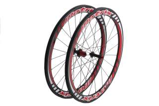 Matrix 700c Road Bike Wheels Carbon Tubular 50mm Red Shimano