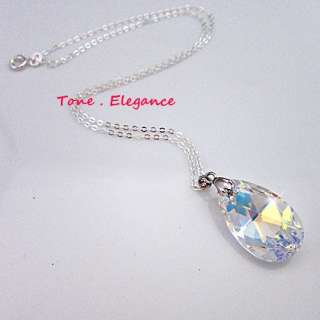 Sterling silver genuine SWAROVSKI crystal womens charm necklace