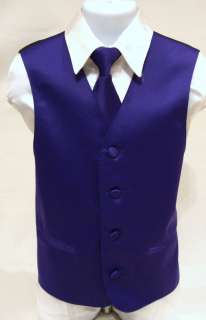 Boys Kids Purple Tuxedo Dress Vest Clip on Tie size 12