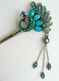 COLORS SWAROVSKI CRYSTAL PEACOCK DANGLE HAIR STICK PIN PICK 523