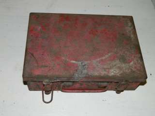 Vintage Excelsior Shabby Industrial Red Tool Box Chest Chic