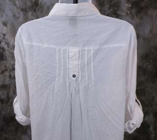 by NYLON Womens WHITE Long Button Down Shirt Top Size Small