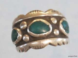 VINTAGE NAVAJO STERLING SILVER & TURQUOISE RING BY LOUISE PLATERO