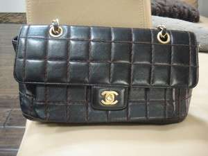 MINT AUTH CHANEL Black with Brown Stitched Flap Bag