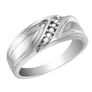 Mens Diamond Wedding Band 1/10 Carat (ctw) in 10K White