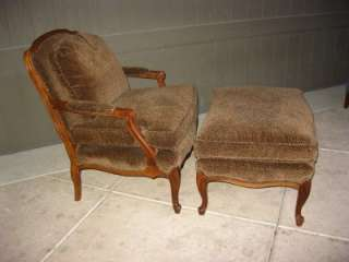 French Provincial Cheetah Print Upholstery Chair with Ottoman