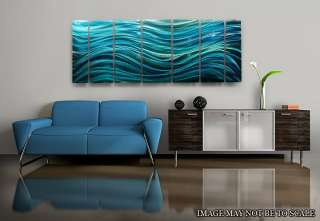 Large Modern Abstract Metal Wall Art Decor Painting Blue Calm Before