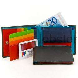 MENS FINE MYWALIT LARGE FLAP BIFOLD LEATHER WALLET KINGFISHER BLUES