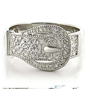 Buckle Cocktail Silver Band Ring Womens Plus Size 9 USA Seller