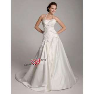 line Halter Sweetheart Chapel Train Wedding Dress