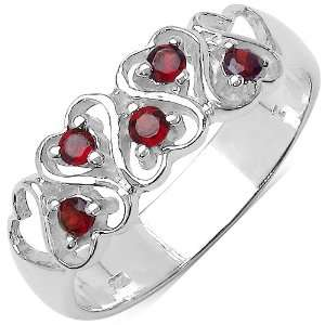 0.30 Carat Genuine Garnet Sterling Silver Ring Jewelry