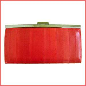 NEW Genuine Eel Skin Leather Clutch Wallet PINK