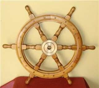 Vintage 24 boat, yacht, ship wood wooden steering wheel