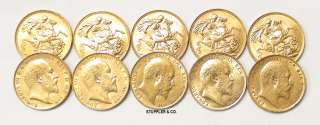 10 BRITISH KING EDWARD PRE 1933 BU GOLD SOVEREIGN COINS
