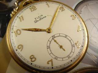 1939 17 JEWEL ELGIN DELUXE 542 THIN POCKET WATCH RAISED GOLD #s