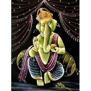 Indian God Lord Ganesha Dancing Ganesh Handmade Deity Art Oil Painting
