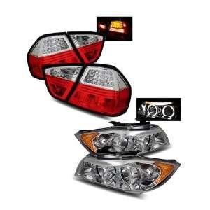 06 08 BMW E90 3 Series 4Dr Chrome LED Halo Projector Headlights + LED