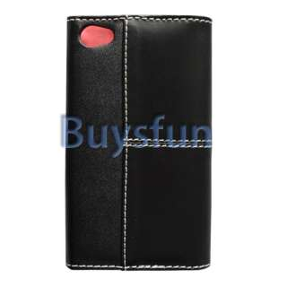 LEATHER CASE FLIP COVER POUCH SKIN FOR IPHONE 4 4G BLACK AND PINK