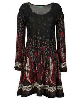 Black Pattern (Black) Felt Print Dress  236833909  New Look