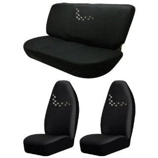 Dog Puppy Animal Embroidered Paw Prints Seat Covers Black