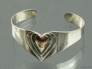 SOLID STERLING SILVER & ROSE GOLD HEART SHAPED CUFF BRACELET