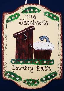 Bathroom on Country Bath Personalized Sign Bathroom Outhouse Wood Crafts Plaque  P