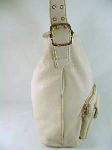 Michael Kors Wainscott Leather Large Shoulder Bag Purse Vanilla