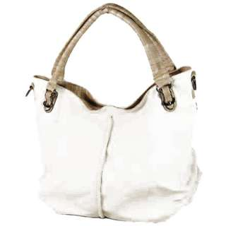Fashion Designer Inspired Solid Faux Leather Hobo Handbag Purse White