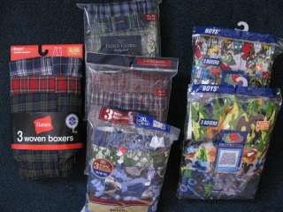 BOYS BOXER SHORTS M,LG, XL HANES FRUIT LOOM FADED GLORY