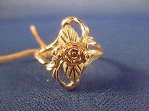 12k Yellow Gold with 925 Sterling Silver Signed WM Rose Leaves SZ 8.25