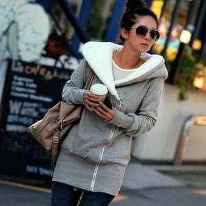 Women Warm Zip Hoodie Jacket Coat Outerwear Gray GC9 S