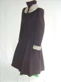40s VTG Nip Waist Flare Skirt Wool Coat Persian Lamb 38