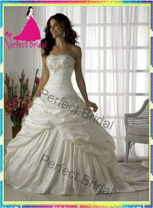 White ivory Wedding Dress Bridal Gown Bride Party Taffeta Prom Ball