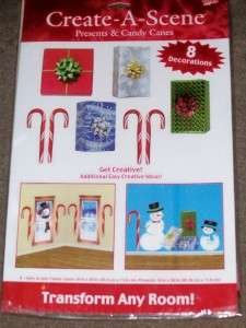 Christmas Wall/Window Cling Presents, Candy Cane Scene