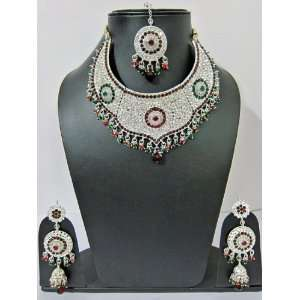 Jewelry Silver Finish Traditional Necklace Earrings Set Jewelry