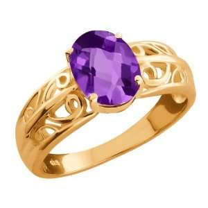 1.00 Ct Checkerboard Purple Amethyst 18k Rose Gold Ring Jewelry