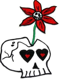 Cute Flower Skull Totenkopf Rockabilly Patch batcave