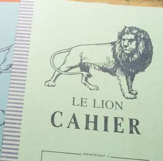 Three Vintage French School Exercise Books Lion