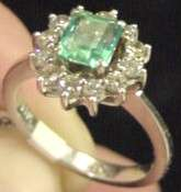 14k White Gold Diamond & Emerald Ring Ladys Size 6