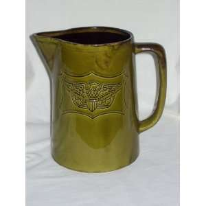 Vintage Green Holiday Designs Eagle Pottery Pitcher