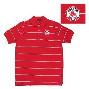 Boston Red Sox MLB Classic Pique Stripe Polo Shirt (Dark Red