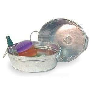 Galvanized Oval Bowl with fold w/ hard liner