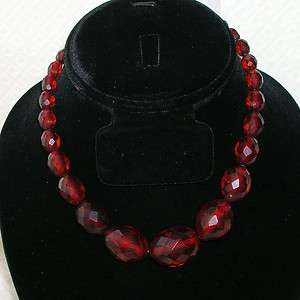 Vintage Sterling Faceted Cherry Amber Bakelite Bead Necklace Choker