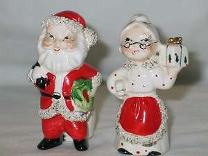 Vintage Christmas Commodore ceramic Santa & Mrs Claus Candle Holders