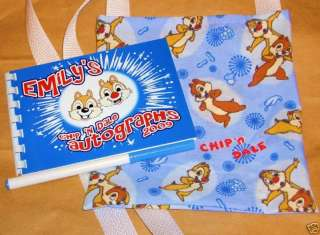 Personalized Autograph Book/Bag/Pen DISNEY CHIP N DALE