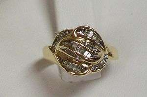 14K Yellow Gold Natural White Diamond Baguette Cut Cluster Swirl Ring