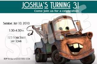 12 Cars Mater Custom Birthday Invitations & Envelopes