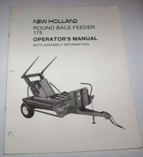 New Holland 175 Round Bale Feeder Operators Manual nh