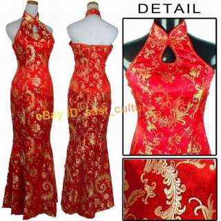 silk satin red gold fishtail Womens Cheong sam Dress S 3XL