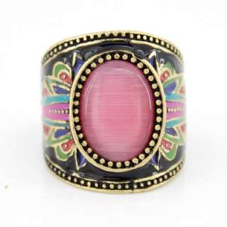 Special Gold tone Black Bohemian Pink Cat eye Stone Ring,Size 7